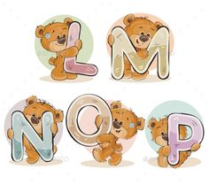 Letters of the English Alphabet with Teddy Bears