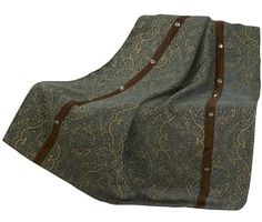 Bella Vista throw blanket features a blend of an elegant traditional chenille damask pattern highlighted with western faux suede and silvertone Concho trim.   Add the matching drapes, placemats or table runner that easily doubles as a dresser scarf or Bedding Ensemble to coordinate your decor.