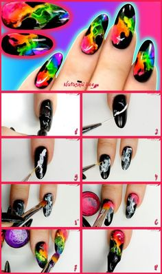 Neon Smoke Rainbow Nails Step By Step Neon Rainbow Smoke Nails / Neon Smoke Nail Art using gel polish seems to be everywhere in the professional nail tech world so I thought I'd bring you an easy diy nail tutorial to help you create these lovely bright nail art designs. I love the way the smoke / fire looks so real on these rainbow nails. ♥️Head to my blog for a full video.