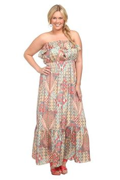 absolutely in love with this Geometric Print Chiffon Maxi Dress