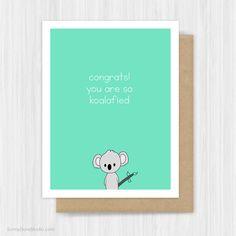 Funny Congratulations Card Pun Congrats Fun Graduation New Job Cute Koala Handmade Greeting Cards Gifts #handmade #cards #greetingcards #graduation #gifts #congratulations #congrats #cute #kawaii #koala #etsy