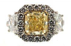 Yellow Diamond Halo Engagement Ring, yellow diamond engagement ring boca raton