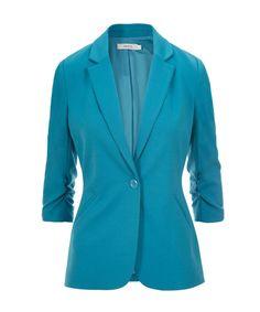 Knit Boyfriend Blazer, Turquoise #rickis #spring #spring2017 #springfashion #rickisfashion #bluemoon #blue #loverickis