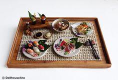 Sushi, Sashimi (No.5) Maki Japanese food sets-Handcraft Dollhouse Miniatures 1/12. $53.00, via Etsy.