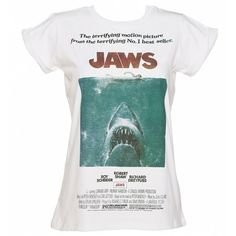 Women's Jaws Movie Poster Rolled Sleeve Boyfriend T-Shirt ($27) ❤ liked on Polyvore featuring tops, t-shirts, boyfriend tops, boyfriend t shirt, white boyfriend t shirt, white tee and white t shirt