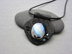 Beautiful rainbow Moonstone pendant showing bright flashes of blue with touches of yellow and orange. Polymer clay necklace with rainbow Moonstone Moonstone Pendant, Moonstone Necklace, Polymer Clay Necklace, Rainbow Moonstone, Personalized Items, Handmade, Blue, Hand Made, Arm Work