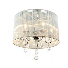 $133.99  Dimensions: 18 inches high x 19 inches wide x 19 inches deep  Emma White Shade Chrome and Crystal Flushmount Chandelier - Overstock™ Shopping - Big Discounts on Otis Designs Flush Mounts