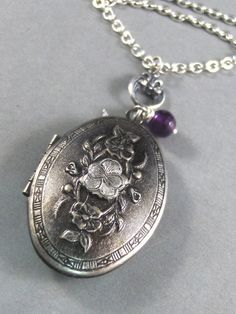 PansySilver Locket Antiqued by ValleyGirlDesigns on Etsy, $30.00