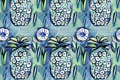 original pineapple watercolor art , rough, elegant, classic symbol for hospitality copyright vivian ducas 2013-2015 amazing! fabric / wallpaper ask about custom color and co-ordinate prints  update: formerly NEWzigzagz RED