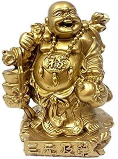 Golden Happy Buddha Laughing Buddha Feng Shui for Money and Wealths *** For more information, visit image link. Buddha Statue Home, Buddha Art, Buddha Statues, Amitabha Buddha, Maitreya Buddha, Buddha Sculpture, Lion Sculpture, Feng Shui, Laughing Buddha Tattoo
