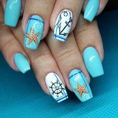 colorful starfish nail art summer 2017 - style you 7 Beach Nail Art, Beach Nail Designs, Acrylic Nail Designs, Nail Art Designs, Acrylic Nails, Cruise Nails, Vacation Nails, French Nails, Sea Nails