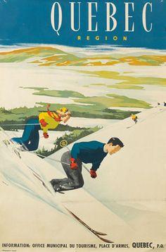 "CANADA Quebec Region Eberhardt 35 ¾"" x 24 ¼""vintage ski poster Ski Vintage, Vintage Ski Posters, Retro Poster, Retro Illustration, Illustrations, Quebec, Posters Canada, Sports Art, Sports Posters"