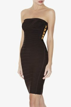 Herve Leger Black Strapless Side Detail Bandage Dress HL0090 is designed for you, why do you own it?