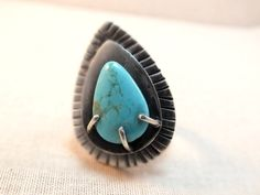 Sterling silver turquoise ring, size 7, artisan ring, gemstone ring, rustic silver ring, gypsy ring, statement ring, silver prong set,