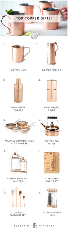 Bring a vintage and classic vibe into your home this holiday season with practical + beautiful, copper accents. Register for your home, honeymoon and new life together with Blueprint Registry. Sign up today!
