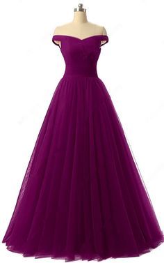 Princess Off The Shoulder Tulle Floor Length Ruffles Purple Prom Dress