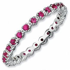 """Zales Stackable Expressionsâ""""¢ Lab-Created Ruby Eternity Band in Sterling Silver"""