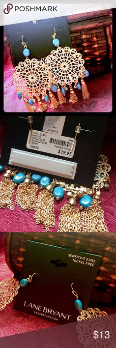 NWT Lane Bryant Gold Filigree Chandelier Earrings This gorgeous pair of chandelier earrings is by Lane Bryant. They are brand new, still carded, and have never been worn. They have large, bright gold tone filigree circles, with faux Turquoise stone accents, and dangling golden tassels. They are made for sensitive ears, and are nickel free. The drop is approximately 4 inches. They are just stunning! I might just need to change my mind and keep them if someone doesn't grab them up! Retails for…