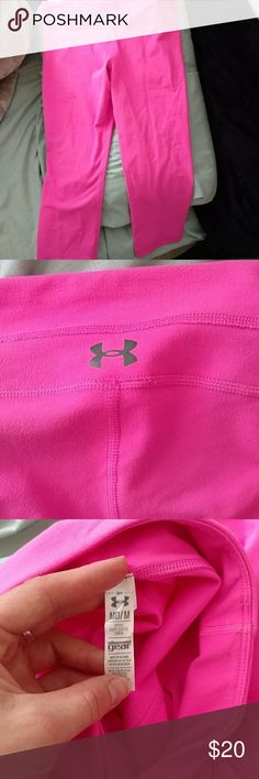Under armour Capri leggings Cute hot pink under armour Capri leggings, only worn a couple times size medium Under Armour Pants Leggings