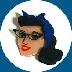Pinup Glasses Girl Brooch, Vintage Inspired, Novelty brooch, Rockabilly, Pinup…