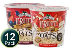 Strawberry Banana and Mixed Berry instant oatmeal cups; freeze-dried fruit in whole grain oatmeal.  100% natural. 12 individual cups ~ $19.99 for 12. ~ 33 grams dry weight, of which 25 grams is the oatmeal. That means that the fruit is almost the same as a single serve (2 fruit servings) pouch! Not cost prohibitive. ~ Sheila