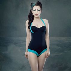 Kiss Me Deadly: Deluxe Swimsuit Turquoise // love this swimsuit with the colour pop design details! #wearabledesign