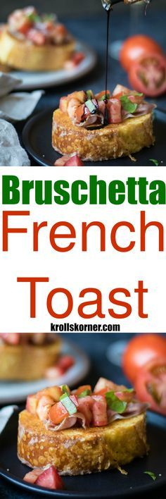 This Bruschetta French Toast with Parmesan Crust is a fun savory way to enjoy traditional french toast for breakfast or brunch!