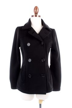 Simply Swanky Boutique - Black Peacoat, $36.00 (http://www.simplyswankyboutique.com/black-peacoat/)