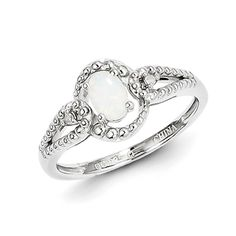Rhodium plated sterling silver ring features oval created opal and beaded texture.