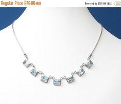 Blue Topaz Sterling Silver Necklace Art Deco by PastSplendors