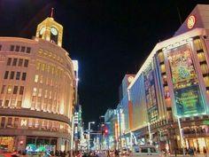 東京・銀座4丁目の夜景