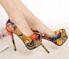 Cool Flowers Print Spring Party Pumps Shoes Ideas
