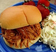 """Slow-Cooker Barbecue Chicken Sandwiches: """"This is probably the easiest and best recipe I've found yet! All you have to add is some coleslaw and chips and you have a fabulous meal."""" -autoguy9171"""