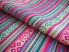 South American Fabric, Peruvian Fabric, Woven, Pink Turquoise Green Cruza Stripes, 1 Yard via Etsy
