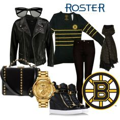 """""""Edgy Bruins Outfit""""   Step out into the city after a thrilling Boston Bruin's game in this edgy inspired Bruin's outfit featuring Roster's Bruins shirt!  Bruins Women Baseline LS SPKL TE $50.00 Sku# 172047 001 1"""