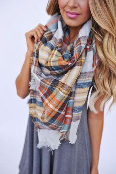 Blanket Scarf- Orange/Brown - Dottie Couture Boutique