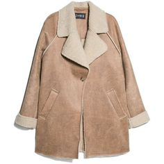 Faux Shearling-Lined Coat (£40) ❤ liked on Polyvore featuring outerwear, coats, jackets, coats & jackets, mango coat, faux shearling coat, beige coat, sherpa coat and sherpa lined coat