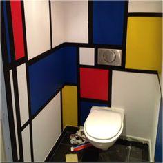 Restroom....Piet Mondrian Inspired art... LOVE THIS!