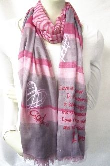 Love Never Fails Women's Striped Scarf- Pink/Grey