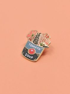 Tomato Soup Bouquet Enamel Pin Hard Enamel Enamel Pin Pin And Patches, Coco Chanel, Piercings, Pins Badge, Pins And Needles, Cool Pins, Tomato Soup, Pin Collection, Enamels