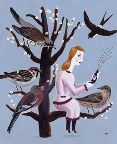 Zeeland magazine - Pieter Van Eenoge. I like illustrations that imply communication between the human and animal world