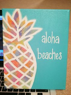 DIY Abstract Heart Painting and a Fun Paint Party aloha beaches pineapple canvas Hawaiian Beach Canvas Paintings, Cute Paintings, Diy Canvas Art, Canvas Crafts, Canvas Ideas, Quote Canvas Art, Beach Canvas Art, Painted Canvas, Wood Crafts