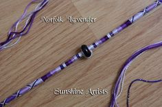 Norfolk Lavender hair wrap, hair braid, boho - purples, lilac, silver sparkle - Deep Purple glass Murano bead, Tibetan beads and Angel charm by SunshineArtists on Etsy