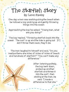 The Starfish Story is a great product for back to school. This poem adapted from Loren Eiseley's work, is a perfect way to spread inspiration and motivation to your colleagues, staff or students in your class. #backtoschool #inspiration #free