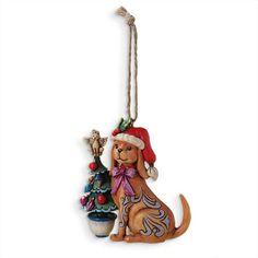 Jim Shore Christmas Dog with Tree Ornament