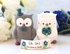 Topping cho bánh cưới | Owls wedding cake toppers with banner