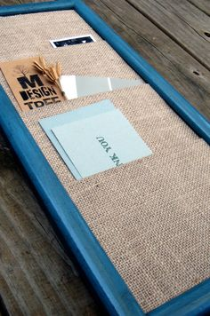 Burlap memo board....love this! Could DIY.....very simple :)