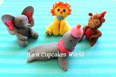 3d Circus Themed  Fondant Cake Toppers. $21.99, via Etsy.