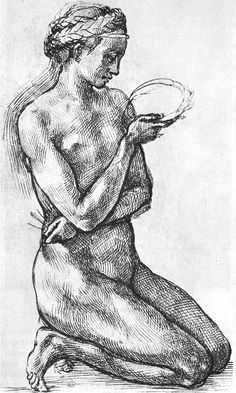 Michelangelo Buonarroti, Kneeling Female Nude, 1503-04. Pen and ink on paper. Musée du Louvre, Paris.