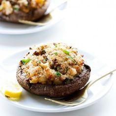 Shrimp Stuffed Portobello Mushrooms- a 30 minutes light meal that's perfect for summer and bikini friendly!